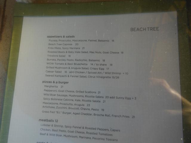 Beach tree dinner menu